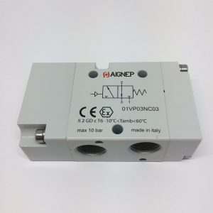 Válvula 3V/2P monoestable accionamiento neumático Aignep